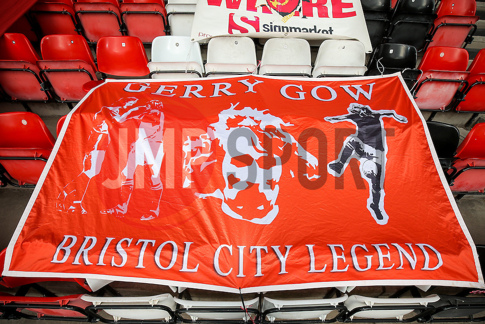 Gerry Gow tribute banners in the Atyeo stand - Rogan Thomson/JMP - 22/10/2016 - FOOTBALL - Ashton Gate Stadium - Bristol, England - Bristol City v Blackburn Rovers - Sky Bet EFL Championship.