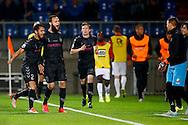 19-09-2015 VOETBAL:WILLEM II- FC UTRECHT:TILBURG<br /> <br /> Nacer Barazite van FC Utrecht viert zijn doelpunt met Mark van der Maarel  van FC Utrecht <br /> <br /> <br /> Foto: Geert van Erven