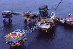 Stock photo of a complex of offshore oil production platforms off of the coast of Brunei in the South China Sea.Stock pictures,stock images