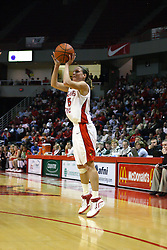 28 January 2007: Megan McCracken shoots for three. Before a record crowd or nearly 4200, the Bradley Braves were defeated by the conference leading (9-0) Redbirds of Illinois State University by a score of 55-47 at Redbird Arena in Normal Illinois.