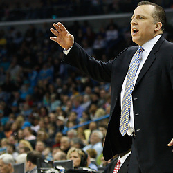 February 12, 2011; New Orleans, LA, USA; Chicago Bulls head coach Tom Thibodeau against the New Orleans Hornetsduring the first quarter at the New Orleans Arena.   Mandatory Credit: Derick E. Hingle