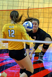 23 November 2017:  Rylee Cookerly digs out a low arrival watched by Taylor Graboski during a college women's volleyball match between the Valparaiso Crusaders and the Illinois State Redbirds in the Missouri Valley Conference Tournament at Redbird Arena in Normal IL (Photo by Alan Look)