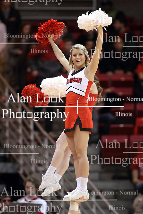 25 February 2015:  Redbird Cheerleader  during an NCAA MVC (Missouri Valley Conference) men's basketball game between the Southern Illinois Salukis and the Illinois State Redbirds at Redbird Arena in Normal Illinois