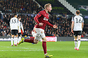 Northampton Town midfielder Nicky Adams celebrates after scoring during the The FA Cup match between Derby County and Northampton Town at the Pride Park, Derby, England on 4 February 2020.