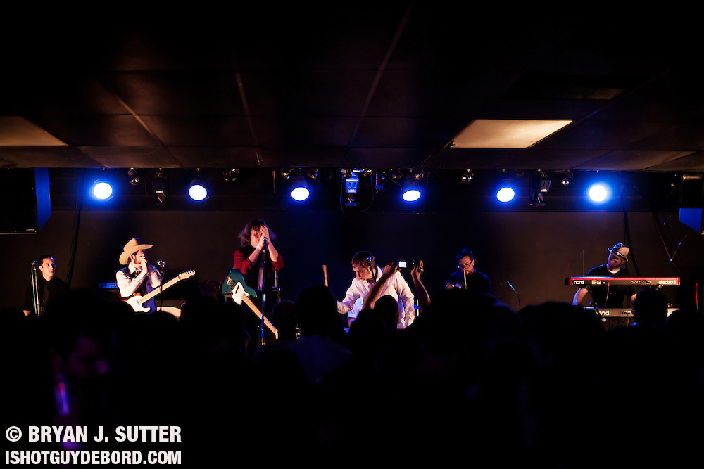"""Photos from Night 1 of the 6th year of An Under Cover Weekend at The Firebird in Saint Louis, Missouri. Aquitaine as Oasis, Animal Empty as PJ Harvey, HUMDRUM as Beck, VOLCANOES as The Killers, and LucaBrasi as U2. The sold out crowd hollered and partied, and maybe at least one baby was made during HUMDRUM's performance of """"Debra""""."""