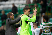 14th October 2017, Celtic Park, Glasgow, Scotland; Scottish Premiership football, Celtic versus Dundee; Celtic's Dorus de Vries was the hero as he made a great late save to deny Dundee's Faissal El Bakhtaoui