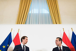 30.04.2019, Bundeskanzleramt, Wien, AUT, Bundesregierung, Pressekonferenz zur Presentation der Steuerreform, im Bild Bundeskanzler Sebastian Kurz (ÖVP) und Heinz-Christian Strache (FPÖ) // Austrian Federal Chancellor Sebastian Kurz and Austrian Vice Chancellor Heinz-Christian Strache during media conference due to fiscal reform at federal chancellors office in Vienna, Austria on 2019/04/30 EXPA Pictures © 2019, PhotoCredit: EXPA/ Michael Gruber