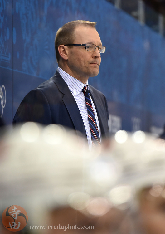 Feb 16, 2014; Sochi, RUSSIA; USA head coach Dan Bylsma in a men's ice hockey preliminary round game against Slovenia during the Sochi 2014 Olympic Winter Games at Shayba Arena.