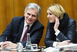 10.12.2014, Parlament, Wien, AUT, Parlament, 53. Nationalratssitzung, Sitzung des Nationalrates mit einer Aktuelllen Stunde unter dem Titel: Hypo-Group-Alpe-Adria – das Spiegelbild politischen Multiorganversagens des Rot-Schwarzen Systems. im Bild v.l.n.r. Bundeskanzler Werner Faymann (SPÖ) und Saatssekretärin Verwaltung und Öffentlichen Dienst Sonja Stessl (SPÖ) // f.l.t.r. Federal Chancellor of Austria Werner Faymann (SPOe) and State Secretary for administration and public servant Sonja Stessl (SPOe) during the 53rd meeting of the National Council of austria with topic Hypo Alpe Adria bank at austrian parliament in Vienna, Austria on 2014/12/10, EXPA Pictures © 2014, PhotoCredit: EXPA/ Michael Gruber