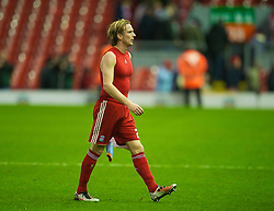 LIVERPOOL, ENGLAND - Wednesday, December 15, 2010: Liverpool's Christian Poulsen walks off dejected after his side's boring goal-less draw with FC Utrecht during the UEFA Europa League Group K match at Anfield. (Photo by: David Rawcliffe/Propaganda)