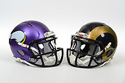 A view of Minnesota Vikings and Los Angeles Rams blue and gold helmets on Thursday, November 2, 2017. (Kirby Lee via AP)