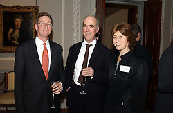 A reception to celebrate the arrival of Deborah Swallow as Director of the Courtauld Institute of Art was held at Somerset House, Strand, London on 9th December 2004.<br />Picture shows:- Left to right, WILLIAM GRISWOLD, DR CHARLES SAUMAREZ-SMITH and DEBORAH SWALLOW, Director, Courtauld Institute of Art and JULIAN AGNEW.