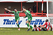 James Dunne (8) of Swindon Town and Chris Hussey (3) of Swindon Town shout at the referee after a decision went against them during the EFL Sky Bet League 2 match between Exeter City and Swindon Town at St James' Park, Exeter, England on 24 March 2018. Picture by Graham Hunt.