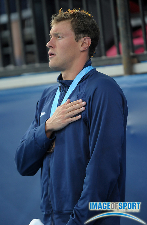 Aug 18, 2010; Irvine, CA, USA; Peter Vanderkaay (USA) poses with the bronze medal after finishing third in the 200m freestyle in 1:46.85 in the 2010 Pan Pacific swimming championships at the William Woollett Jr. Aquatics Center. Photo by Image of Sport