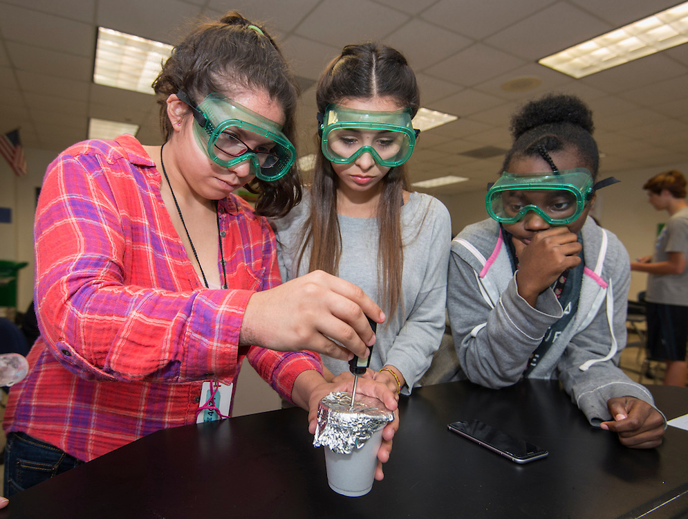 Lauren Hacker teaches chemistry at Westside High School, May 7, 2015.