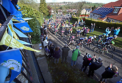 © Licensed to London News Pictures. 30/04/2016. East Rigton, Leeds, UK.  Cyclists in the one day women's race of the Tour de Yorkshire tackle the Queen of the Mountain section at East Rigton, part of a 135km route from Otley to Doncaster with a total of £50,000 prize money on offer making it the most lucrative women's race in the world. Photo credit: Chris Booth/LNP