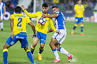 Vicente Gomez of UD Las Palmas competes for the ball with Gabriel Appelt Pires of Club Deportivo Leganes during the match of La Liga between Deportivo Leganes and Union Deportiva Las Palmas  Butarque Stadium  in Madrid, Spain. April 25, 2017. (ALTERPHOTOS/Rodrigo Jimenez)