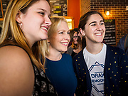 17 APRIL 2019 - DES MOINES, IOWA: US Senator KIRSTEN GILLIBRAND (D-NY), center, poses for selfies with Drake University students after a meet and greet with students at a restaurant in Des Moines. Gillibrand is touring Iowa this week to support her candidacy to be the Democratic nominee for the US Presidency. Iowa traditionally hosts the the first selection event of the presidential election cycle. The Iowa Caucuses will be on Feb. 3, 2020.              PHOTO BY JACK KURTZ