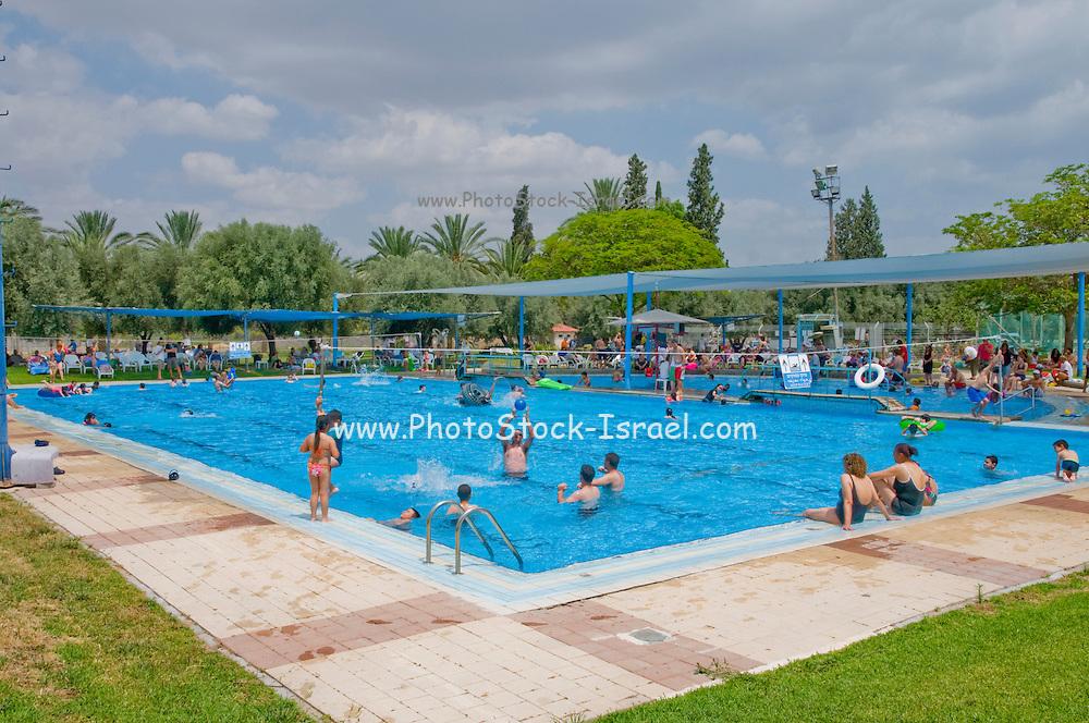 Israel, Jordan Valley, Kibbutz Ashdot Yaacov, Outdoor Swimming pool