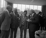 New Bottling plant for D.E.Williams..1975..19.06.1975..06.19.1975..19th June 1975..The Minister for Justice, Mr Patrick Cooney TD, officially opened the new one and a half million gallon per annum soft drink facility at Tullamore,Co Offaly. The new plant represents an investment of over a quarter million pounds by the Williams Group. It is hoped that this investment will create further employment for the area...Pictured having the cup that cheers the Minister Mr Patrick Cooney chats with Mr Edmund Williams, Mr V E Williams and Mr Mr W J Ralph all of the Williams Group.