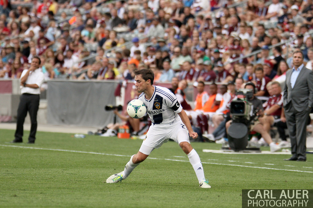 July 27th, 2013 - LA Galaxy defender Todd Dunivant (2) gathers in a pass in the second half of the Major League Soccer match between the LA Galaxy and the Colorado Rapids at Dick's Sporting Goods Park in Commerce City, CO