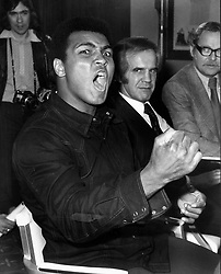 Nov. 29, 1974 - London, England, U.K. - Boxing champion MUHAMMAD ALI makes a face during a press conference at the Hilton Hotel in London. He is in town to watch a fight at Royal Albert Hotel. (Credit Image: © Keystone Press Agency/Keystone USA via ZUMAPRESS.com)