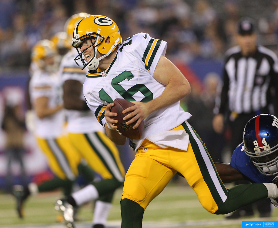 Packers quarterback Scott Tolzien in action during the New York Giants Vs Green Bay Packers, NFL American Football match at MetLife Stadium, East Rutherford, New Jersey, USA. 17th November 2013. Photo Tim Clayton