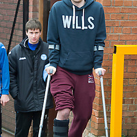 St Johnstone's David Robertson on crutches after suffering a broken leg against Hibs..<br /> Picture by Graeme Hart.<br /> Copyright Perthshire Picture Agency<br /> Tel: 01738 623350  Mobile: 07990 594431