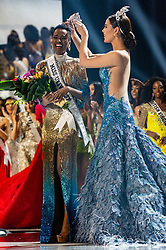 December 8, Atlanta, Georgia, USA: ZOZIBINI TUNZI, Miss South Africa 2019 is crowned Miss Universe by Miss Universe 2018, Catriona Gray at the conclusion of The Miss Universe Competition at Tyler Perry Studios in Atlanta. The new winner will move to New York City where she will live during her reign and become a spokesperson for various causes alongside The Miss Universe Organization.  (Credit Image: © Miss Universe Organization/ZUMA Wire/ZUMAPRESS.com)