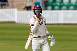 Tom Cooper of Somerset looks dejected after being bowled out for 43 by Rikki Clarke of Warwickshire - Mandatory byline: Rogan Thomson/JMP - 07966 386802 - 22/09/2015 - CRICKET - The County Ground - Taunton, England - Somerset v Warwickshire - Day 1 - LV= County Championship Division One.