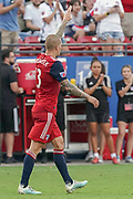 FC Dallas Forward Zdenek Ondrasek (13) salutes the crowd after tying he score against NYFC  during a MLS soccer game, Sunday, Sept. 22, 2019, in Frisco, Tex. FC Dallas and New York FC draw 1-1 (Wayne Gooden/Image of Sport)