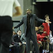 Springfield Armor Head Coach Doug Overton seen in the second half of a NBA D-league regular season basketball game between the Delaware 87ers (76ers) and the Springfield Armor (Nets) Saturday, Dec. 28, 2013 at The Bob Carpenter Sports Convocation Center, Newark, DE