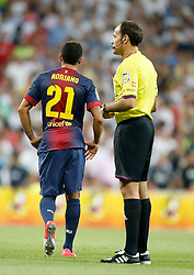 29.08.2012, Estadio Santiago Bernabeu, Madrid, ESP, Supercup, Real Madrid vs FC Barcelona, Rueckspiel, im Bild Barcelona's Adriano Correia is sent off by the referee // during the Spanish Supercup 2nd Leg Match match between Real Madrid CF and Barcelona FC at the Estadio Santiago Bernabeu, Madrid, Spain on 2012/08/29. EXPA Pictures © 2012, PhotoCredit: EXPA/ Alterphotos/ Alvaro Hernandez..***** ATTENTION - OUT OF ESP and SUI *****