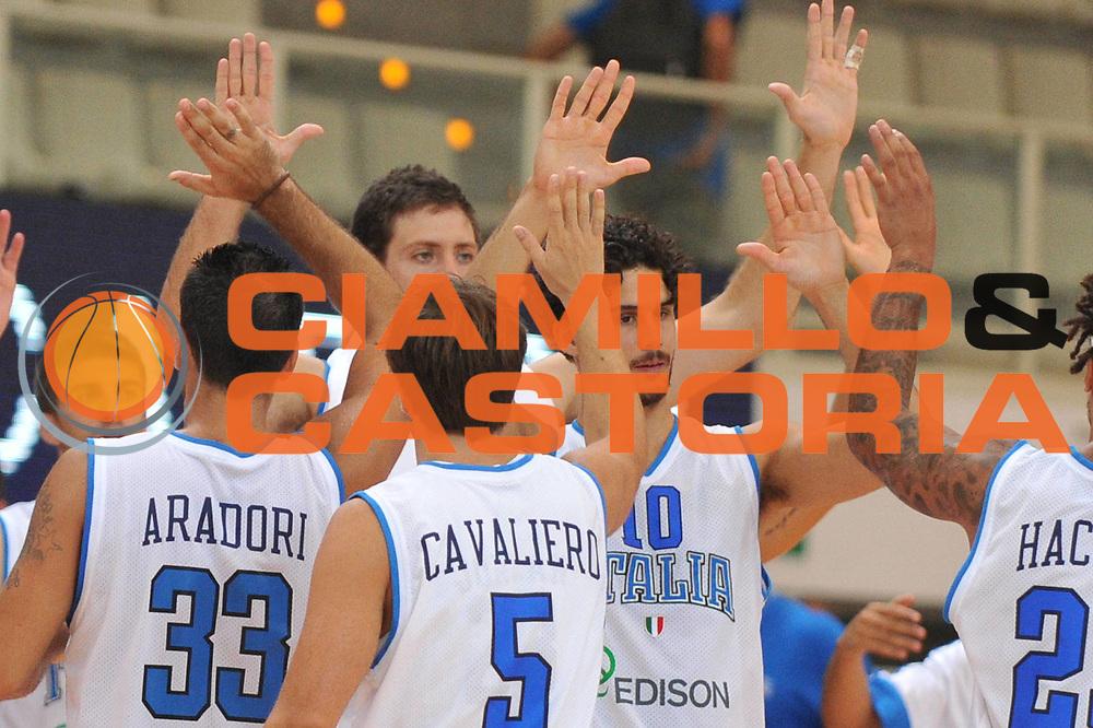DESCRIZIONE : Trento Primo Trentino Basket Cup Italia Montenegro<br /> GIOCATORE : team nazionale italia<br /> CATEGORIA : esultanza<br /> SQUADRA : Nazionale Italia Maschile<br /> EVENTO :  Trento Primo Trentino Basket Cup<br /> GARA :Italia Montenegro<br /> DATA : 27/07/2012<br /> SPORT : Pallacanestro<br /> AUTORE : Agenzia Ciamillo-Castoria/M.Gregolin<br /> Galleria : FIP Nazionali 2012<br /> Fotonotizia : Trento Primo Trentino Basket Cup Italia Montenegro<br /> Predefinita :
