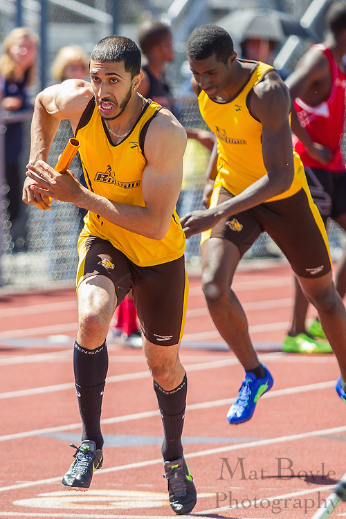 Rowan University's Ali Ejaz competes in the men's 4 x 400 meter relay at the NJAC Track and Field Championships at Richard Wacker Stadium on the campus of  Rowan University  in Glassboro, NJ on Sunday May 5, 2013. (photo / Mat Boyle)
