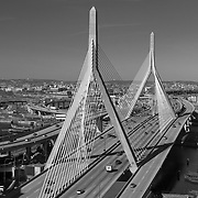The Leonard P Zakim Bridge connects Boston and Charles town, Massachusetts, spanning the Charles River.