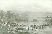 British Troops Crossing the Orange River.  Sir George Cathcart took the field against the Basutos in Dec 1852 crossed the Orange River with a well equipped force of 2500 trained men and encamped at Platberg on the Caledon River. Even though he was not successful and sustained a severe defeat, Moshesh sued for peace which was promptly granted.