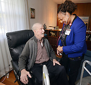 HS1HEART17P <br /> Nurse practitioner Janet Dunn (right) checks on the health of Oivind Midthassel of Southampton, Pennsylvania`Friday December 11, 2015 in Southampton, Pennsylvania. (William Thomas Cain/For The Inquirer)