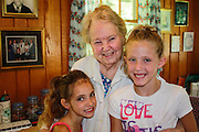 My grandmother Ruby with my granddaughters, her great-great granddaughters, Shelby (8), and Macey (10).