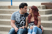 "EAST HANOVER, NJ - APRIL 03:  (EXCLUSIVE COVERAGE, SPECIAL RATES APPLY) Nicole ""Snooki"" Polizzi and her fiance Jionni LaValle on April 3, 2014 in New Jersey, are expecting their second child.  (Photo by Dave Kotinsky/NEP/Getty Images)"