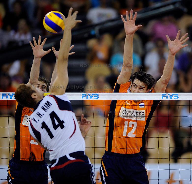 09-07-2010 VOLLEYBAL: WLV NEDERLAND - ZUID KOREA: EINDHOVEN<br /> Nederland verslaat Zuid Korea met 3-1 /  Wytze Kooistra en Yannick van Harskamp<br /> ©2010-WWW.FOTOHOOGENDOORN.NL