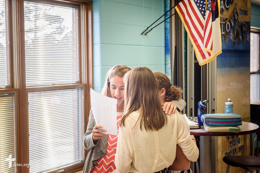 Middle school students practice for a spelling bee on Friday, Oct. 28, 2016, at First Immanuel Lutheran School in Cedarburg, Wis. LCMS Communications/Erik M. Lunsford