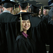 A young graduate is all smiles on commencement day at Drake University in 2005...The private University in Des Moines, Ia., has been lauded for it's outstanding programs in the arts in addition to having one of the best law schools and pharmacy departments in the country.