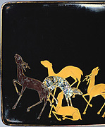 Deer calling in Autumn: Interior of a writing box (detail),  black lacquer with Gold inlays, XVII century.