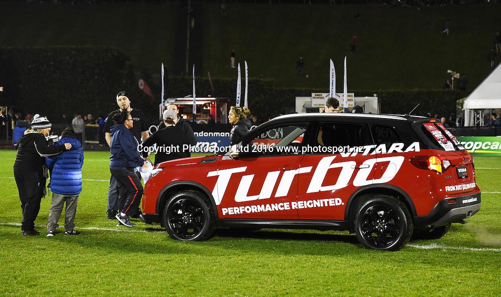 Suzuki sponsorship activation at half time.<br /> Vodafone Warriors v South Sydney Rabbitohs. NRL Rugby League. Mt Smart Stadium, Auckland, New Zealand. Saturday 13 August 2016. &copy; Copyright Photo: Andrew Cornaga / www.Photosport.nz