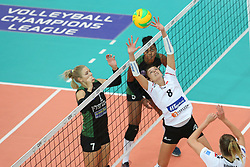October 21, 2017 - Rzeszow, Poland - Anna Velikiy (Hapoel), Anna Kaczmar (Developres), Angelica da Penha Correa Caboclo (Hapoel), Magdalena Hawryla (Developres),  in action during CEV Volleyballl Champions League volleybal women match between Developres Rzeszow and Hapoel Kfar Saba on 21 October 2017 in Rzeszow, Poland. (Credit Image: © Foto Olimpik/NurPhoto via ZUMA Press)