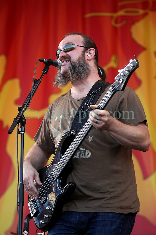 04 May 2012. New Orleans, Louisiana,  USA. .New Orleans Jazz and Heritage Festival. .John Driskell Hopkins of the Zac Brown Band..Photo; Charlie Varley.
