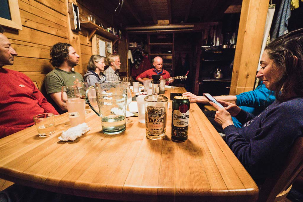 Maple whisky and music at the Burnie Glacier Chalet with Emily Bodner, Tom, Josh Breau,  Monika Loeschberger, Eric Olson, and Hank Wissenz on guitar.