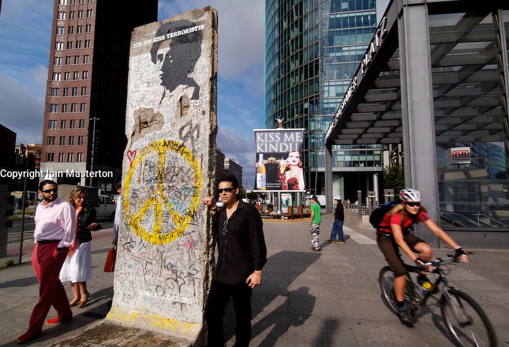 Original section of Berlin Wall standing in Potsdamer Platz in Berlin