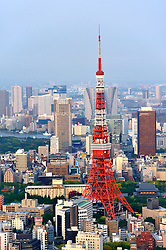 Tokyo Tower and view over city of Tokyo